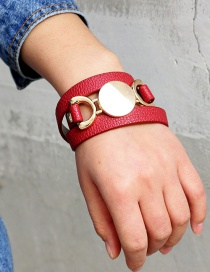 Fashion Red Pure Color Decorated Bracelet