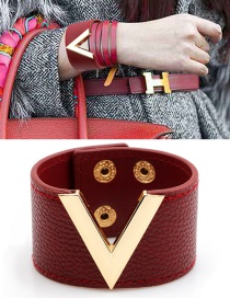 Fashion Red Letter V Shape Decorated Bracelet