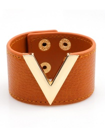 Fashion Orange Letter V Shape Decorated Bracelet