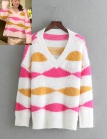 Fashion White Stripe Pattern V Neckline Sweater