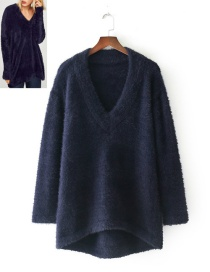 Fashion Navy Pure Color Decorated V Neckline Sweater