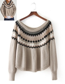 Fashion  Color Matching Decorated Sweater