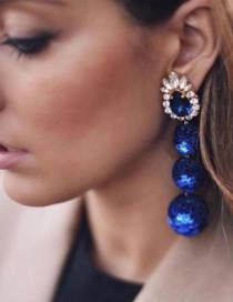 Fashion Blue Balls&diamond Decorated Long Earrings