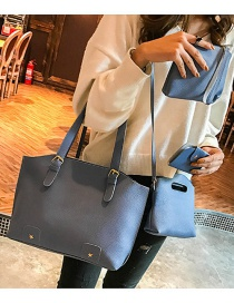 Fashion Blue Rivet Decorated Handbag ( 4 Pcs )