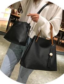 Fashion Black Pure Color Decorated Shoulder Bag (2 Pcs )