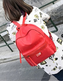 Fashion Red Letter Patch Decorated Backpack