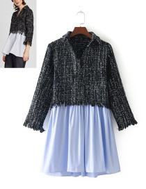 Fashion Black+blue Color Matching Decorated Shirt