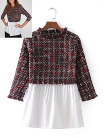Fashion Red+white Color Matching Decorated Shirt