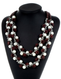 Fashion Coffee+white Pom Ball Decorated Necklace