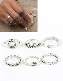 Fashion Silver Color Crown&owl Shape Decorated Ring ( 6 Pcs )