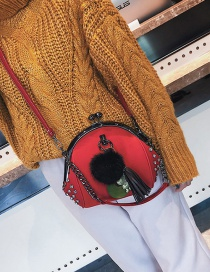 Fashion Red Pom Ball Decorated Shoulder Bag