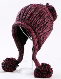 Fashion Plum Red Fuzzy Ball Decorated Hat