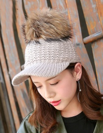 Fashion Khaki Fuzzy Ball Decorated Cap