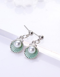Fashion Light Green Shell Shape Decorated Earrings