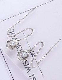 Fashion Silver Color+white Shell Shape Decorated Earrings