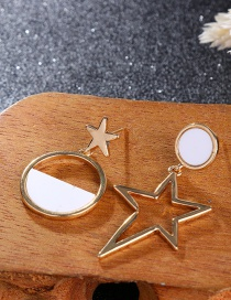 Fashion Gold Color+white Star Shape Decorated Earrings