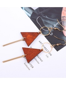 Fashion Gold Color+brown Triangle Shape Decorated Earrings