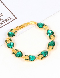 Fashion Green Heart Shape Diamond Decorated Bracelet