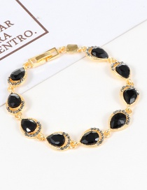 Fashion Black Water Drop Shape Diamond Decorated Bracelet