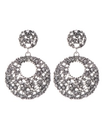 Fashion Antique Silver+gray Hollow Out Design Round Shape Earrings