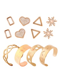 Fashion Gold Color Heart Shape Decorated Ring Sets(8pcs)