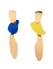Exaggerated Blue+yellow Color Matching Design Irregular Shape Earrings