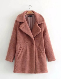 Trendy Pink Pure Color Decorated Long Sleeves Coat