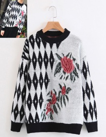 Trendy White+black Flower Pattern Decorated Sweater