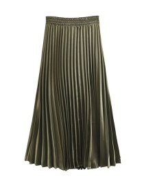 Trendy Dark Green Pure Color Decorated Simple Skirt