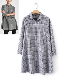 Trendy Light Gray Grid Pattern Decorated Long Sleeves Dress