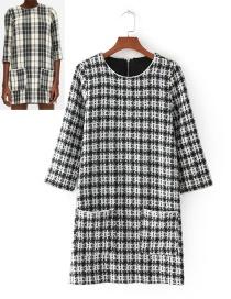 Fashion White+black Grid Pattern Decorated Long Sleeves Dress