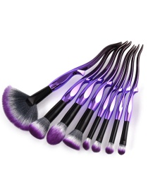 Trendy Purple+black Color Matching Decorated Makeup Brush(8pcs)