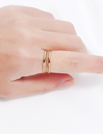 Trendy Gold Color Pure Color Decorated Opening Ring