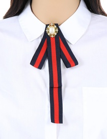 Trendy Red+navy Stripe Pattern Decorated Bowknot Brooch