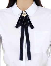 Trendy Navy Pure Color Decorated Bowknot Brooch