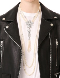 Exaggerated White Diamond Decorated Multilayer Necklace