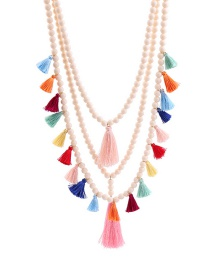 Bohemia Multi-color Tassel Decorated Multi-layer Necklace