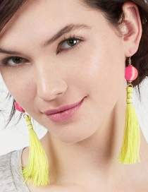 Bohemia Yellow Round Shape Decorated Earrings