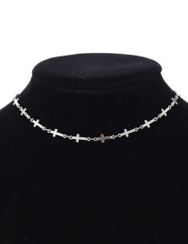 Fashion Silver Color Cross Shape Decorated Choker