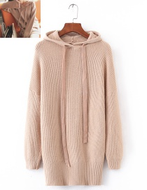 Fashion Beige Pure Color Decorated Hoodie