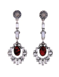 Elegant Silver Color+red Square Shape Decorated Earrings