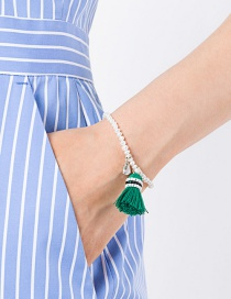 Bohemia Green Tassel Decorated Bracelet