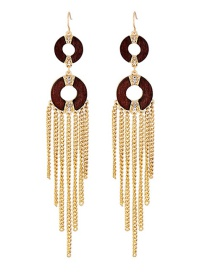 Elegant Gold Color Round Shape Decorated Tassel Earrings