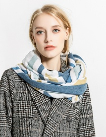 Fashion Blue+white Color Matching Decorated Scarf
