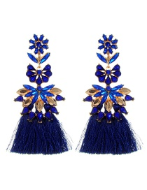 Fashion Sapphire Blue Diamond&flower Decorated Tassel Earrings