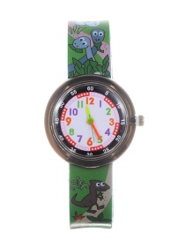 Fashion Dark Green Dinosaur Pattern Decorated Child Watch