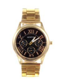 Fashion Gold Color+black Letter Pattern Decorated Watch