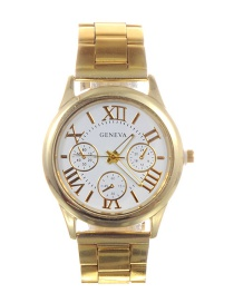 Fashion Gold Color+white Letter Pattern Decorated Watch