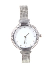 Fashion Silver Color Diamond Decorated Round Dial Watch