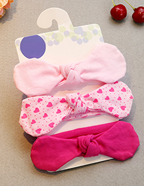 Lovely Pink Heart Shape Pattern Decorated Baby Hair Band(3pcs 0-1year Old)
